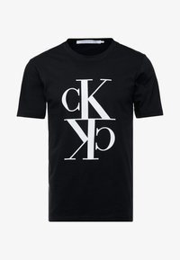 Calvin Klein Jeans - MIRRORED MONOGRAM TEE - T-shirt med print - black/white - 4