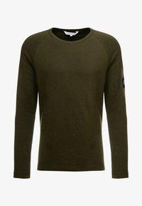 Calvin Klein Jeans - WAFFLE MONOGRAM SLEEVE SLIM - Bluzka z długim rękawem - deep depths - 3
