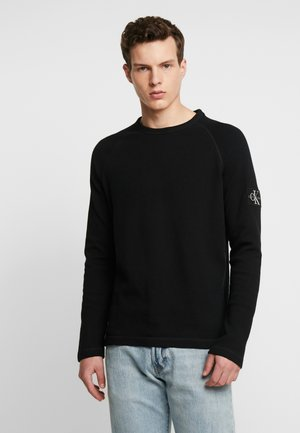 WAFFLE MONOGRAM SLEEVE SLIM - Langærmede T-shirts - black