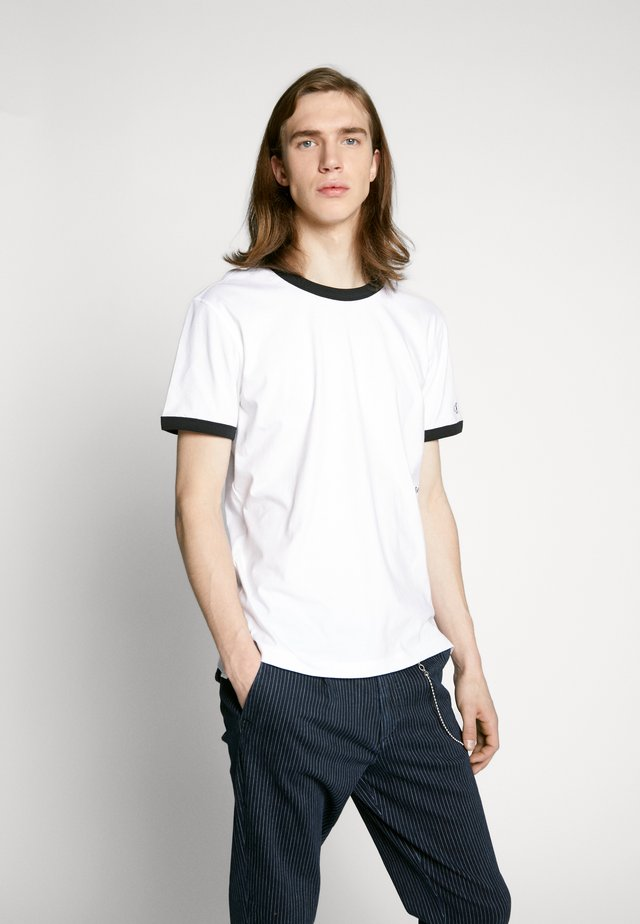 CONTRASTED RINGER TEE - T-Shirt basic - bright white/black