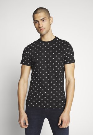 SLIM TEE - T-shirt z nadrukiem - black/white