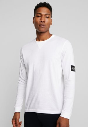 BADGE SLEEVE CUFF - Bluzka z długim rękawem - bright white