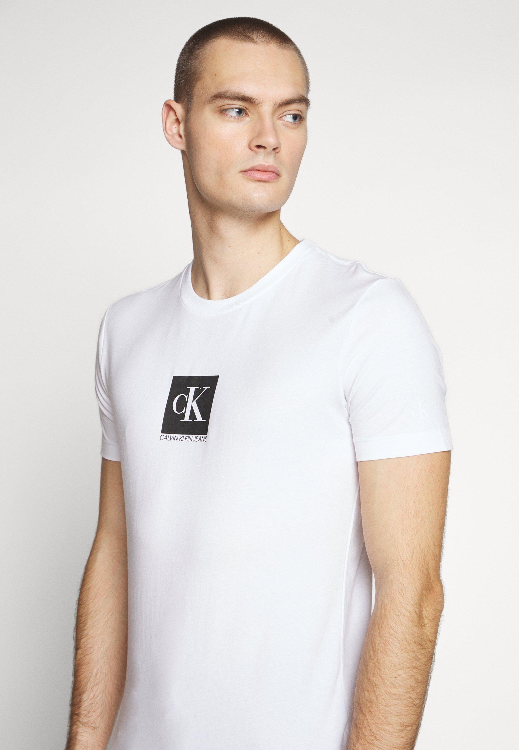Calvin Klein Jeans Center Monogram Box Slim Tee - T-shirt Imprimé Bright White