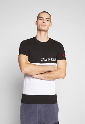 COLOR BLOCK PANEL SLIM - T-shirt print - black/white/red