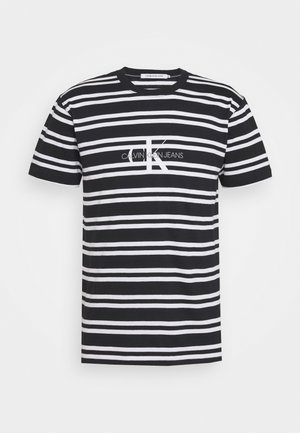 STRIPED CENTER LOGO TEE - T-Shirt print - black