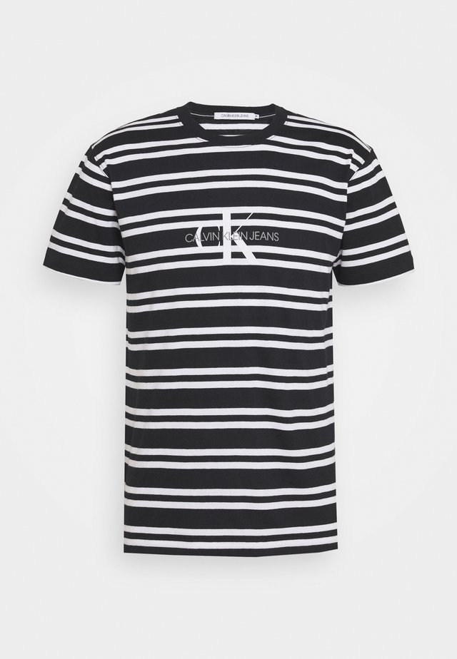 STRIPED CENTER LOGO TEE - Print T-shirt - black