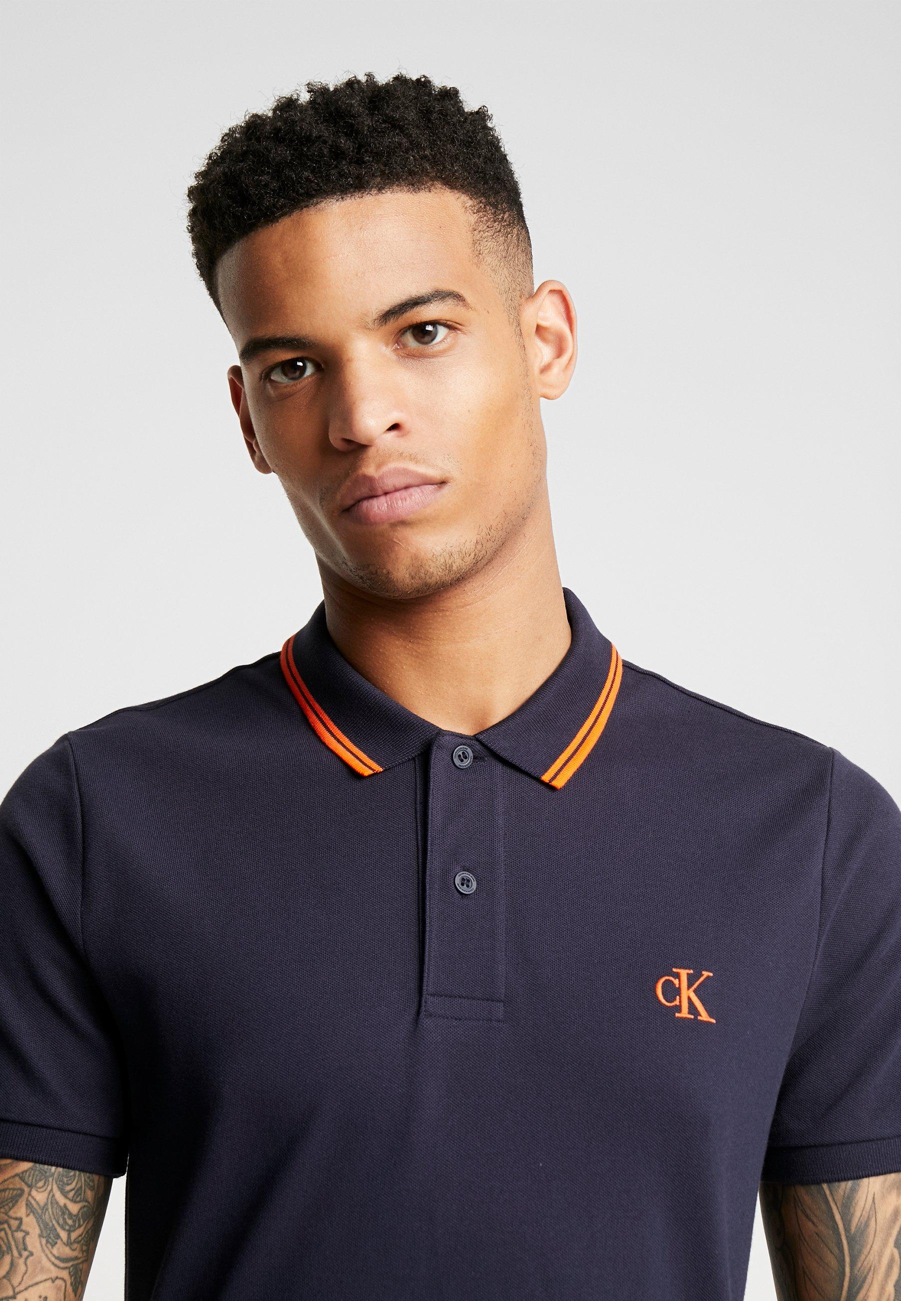 Calvin Klein Jeans ESSENTIAL TIPPING SLIM FIT - Koszulka polo - night sky/orange