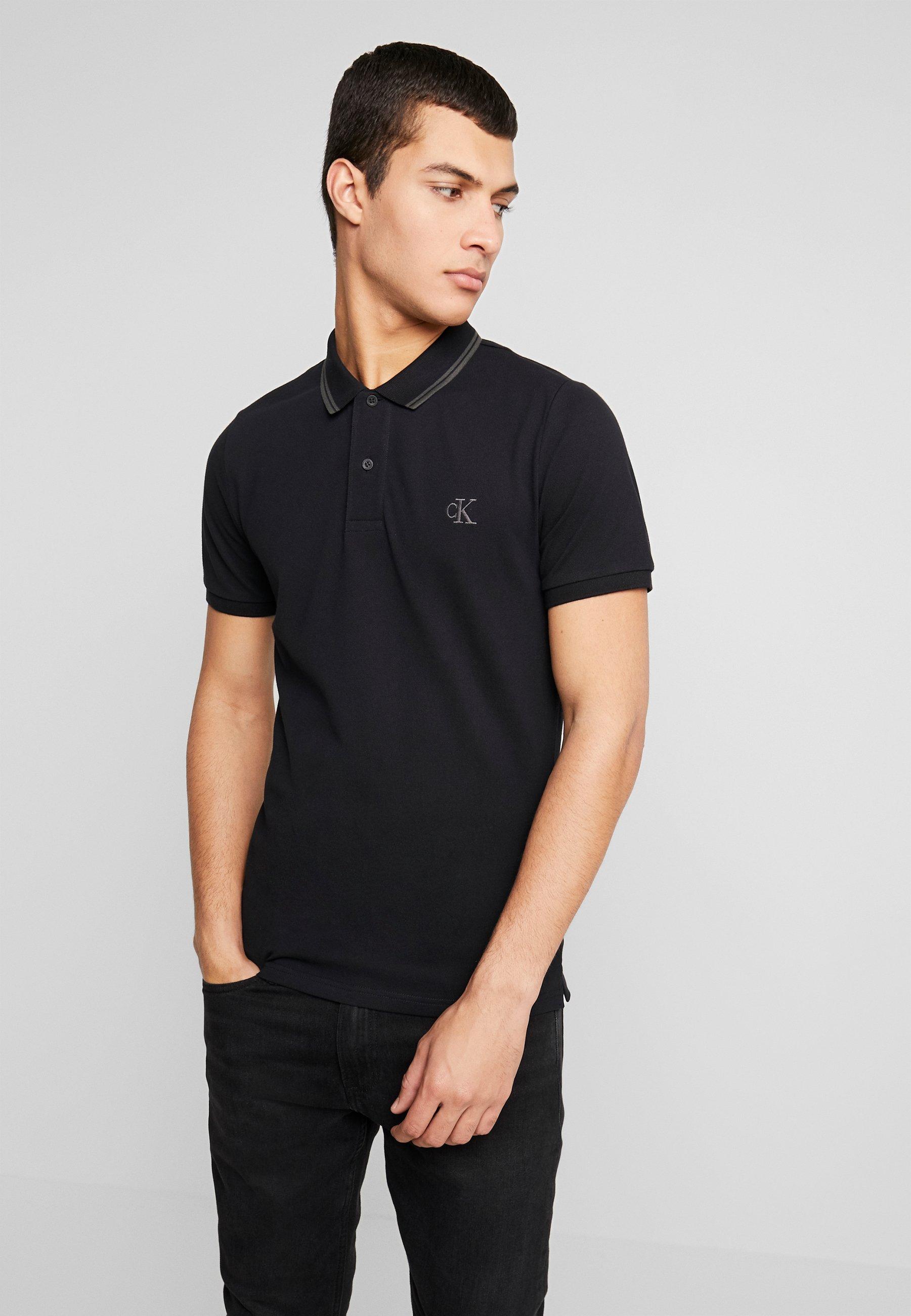 Calvin Klein Jeans ESSENTIAL TIPPING SLIM FIT - Koszulka polo - black/raven