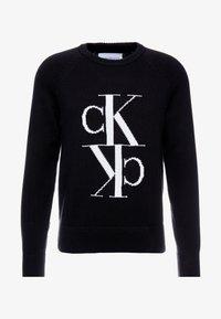 Calvin Klein Jeans - MIRRORED MONOGRAM SWEATER - Svetr - black - 5