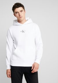 Calvin Klein Jeans - CHEST MONOGRAM HOODIE - Hoodie - bright white - 0