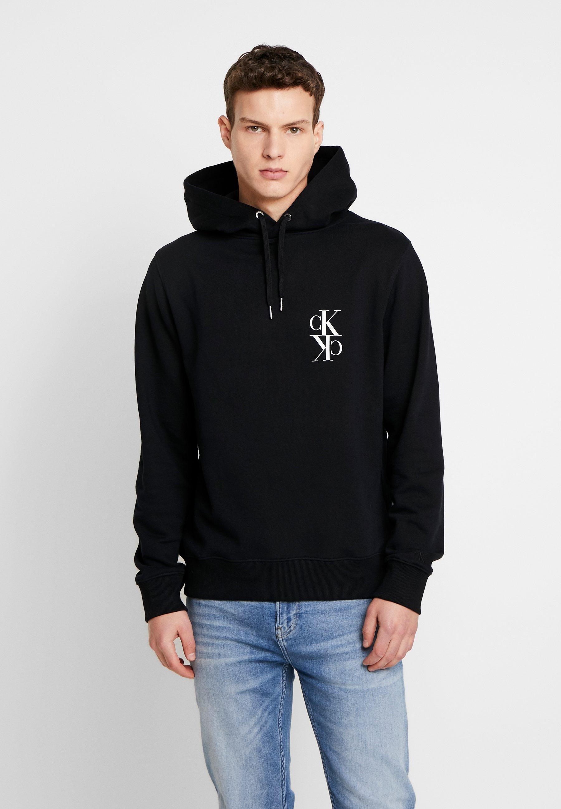 Calvin Klein Jeans BACK MIRRORED MONOGRAM HOODIE - Bluza z kapturem - black/bright white