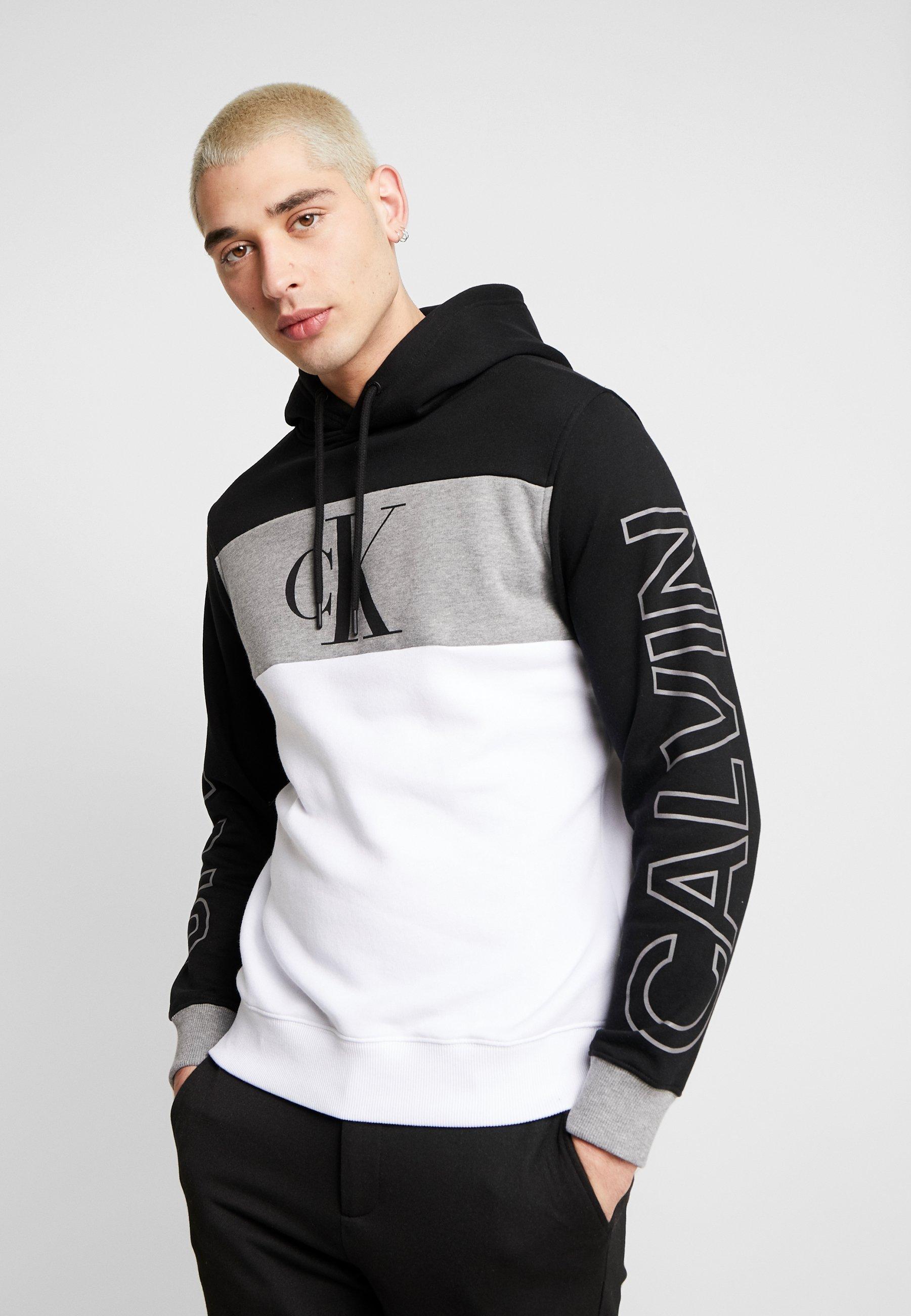 Calvin Klein Jeans STATEMENT HOODIE - Bluza z kapturem - black/white