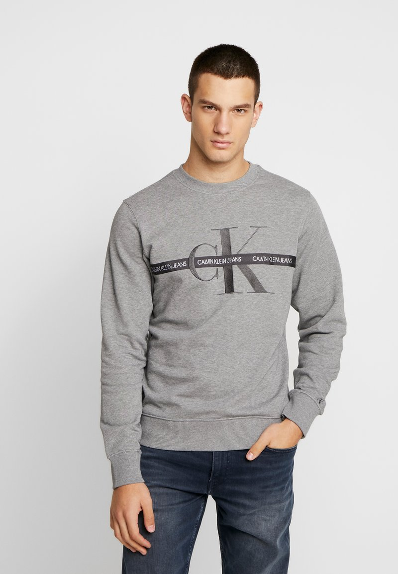 Calvin Klein Jeans - TAPING THROUGH MONOGRAM - Mikina - mid grey heather