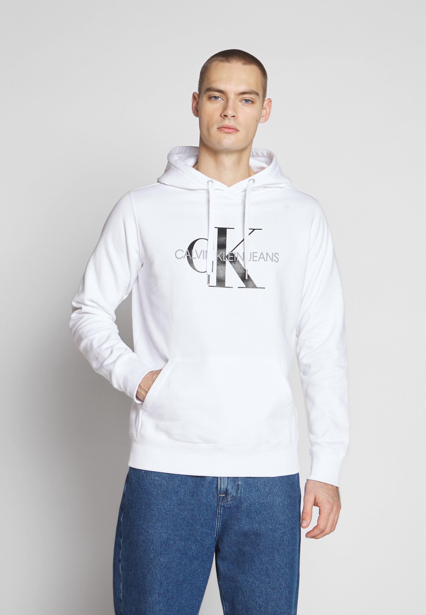 Calvin Klein Jeans MONOGRAM REGULAR HOODIE - Bluza z kapturem - bright white