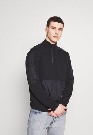 MIXED MEDIA MOCK NECK - Sweater - black