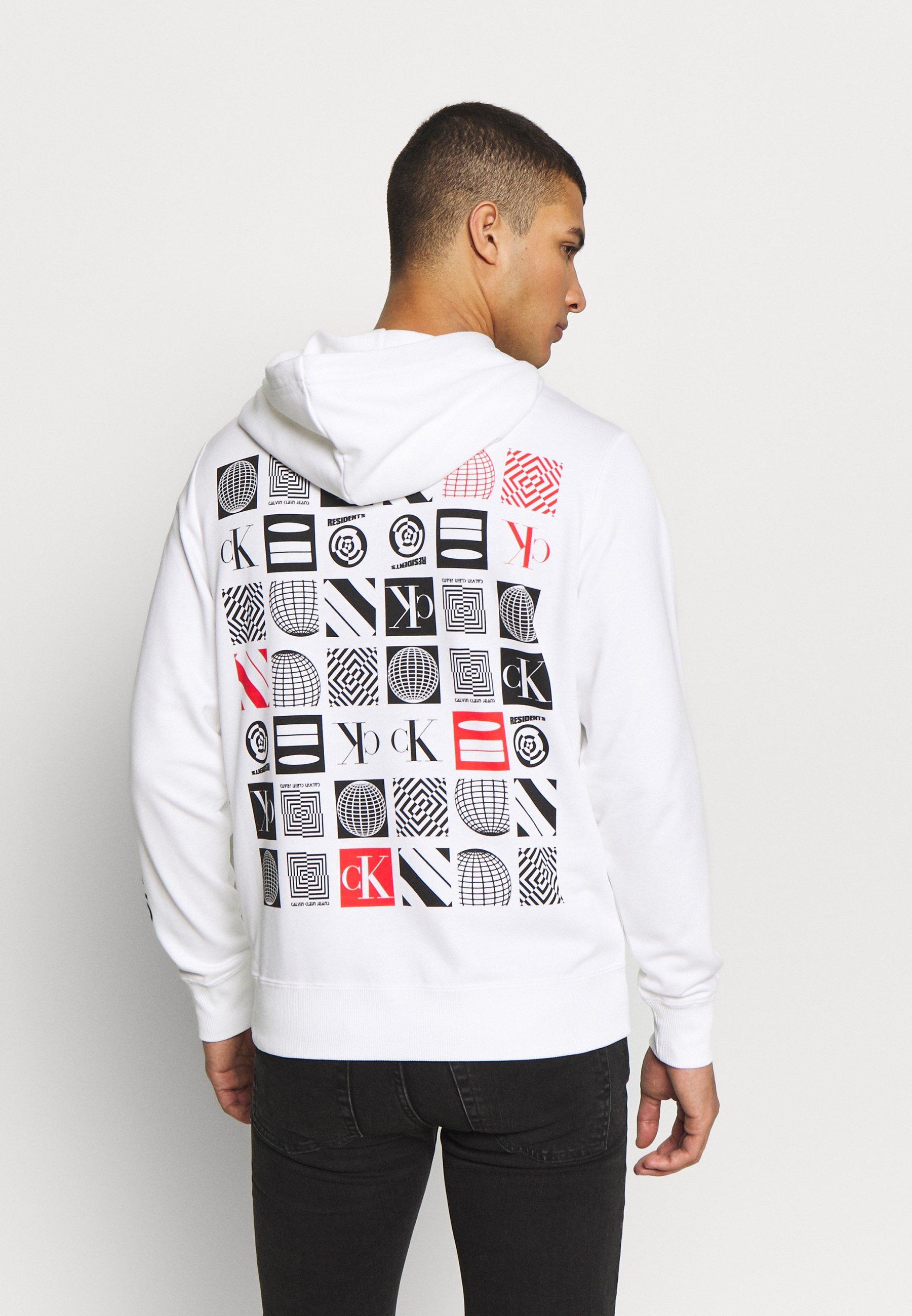Calvin Klein Jeans Flyer Placement Hoodie - Luvtröja Bright White VHF7hIo