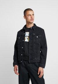 Calvin Klein Jeans - FOUNDATION SLIM JACKET - Kurtka jeansowa - black - 0