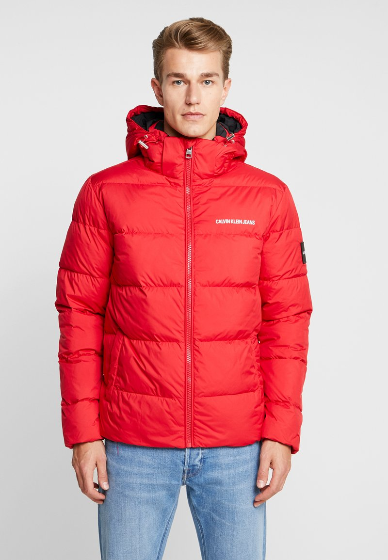Calvin Klein Jeans - HOODED PUFFER - Down jacket - racing red