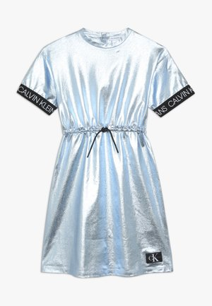 METALLIC DRESS - Jersey dress - blue