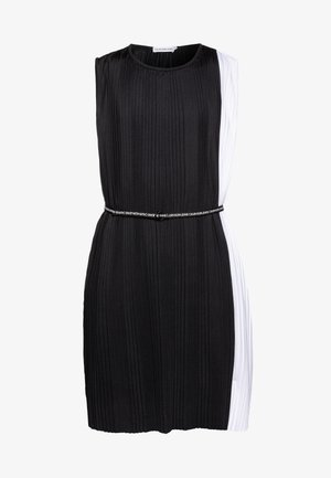 PLISSE COLOR BLOCK DRESS - Cocktailjurk - black