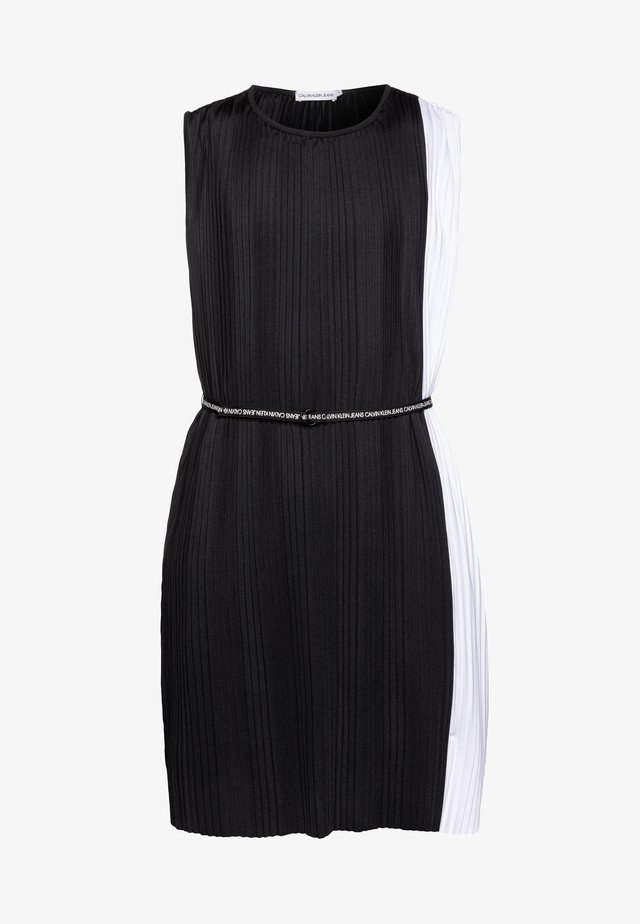 PLISSE COLOR BLOCK DRESS - Juhlamekko - black