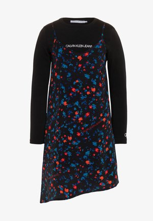 ASYMETRIC FLOWER DRESS SET - Day dress - black