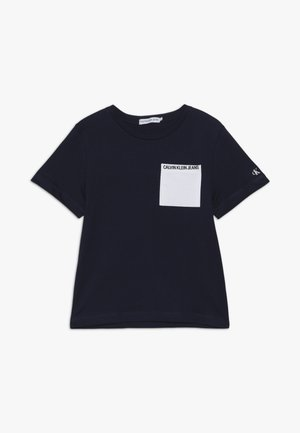 CONTRAST POCKET - Print T-shirt - blue