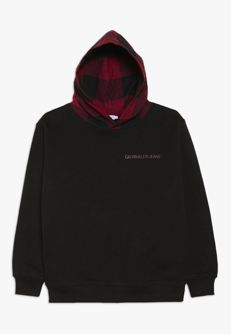 Calvin Klein Jeans - CHECK HOODED - Hoodie - black
