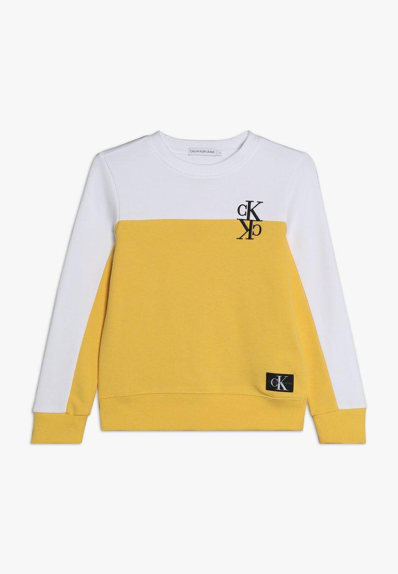 Calvin Klein Jeans - COLOUR BLOCK MONOGRAM SWEATSHIRT - Collegepaita - yellow