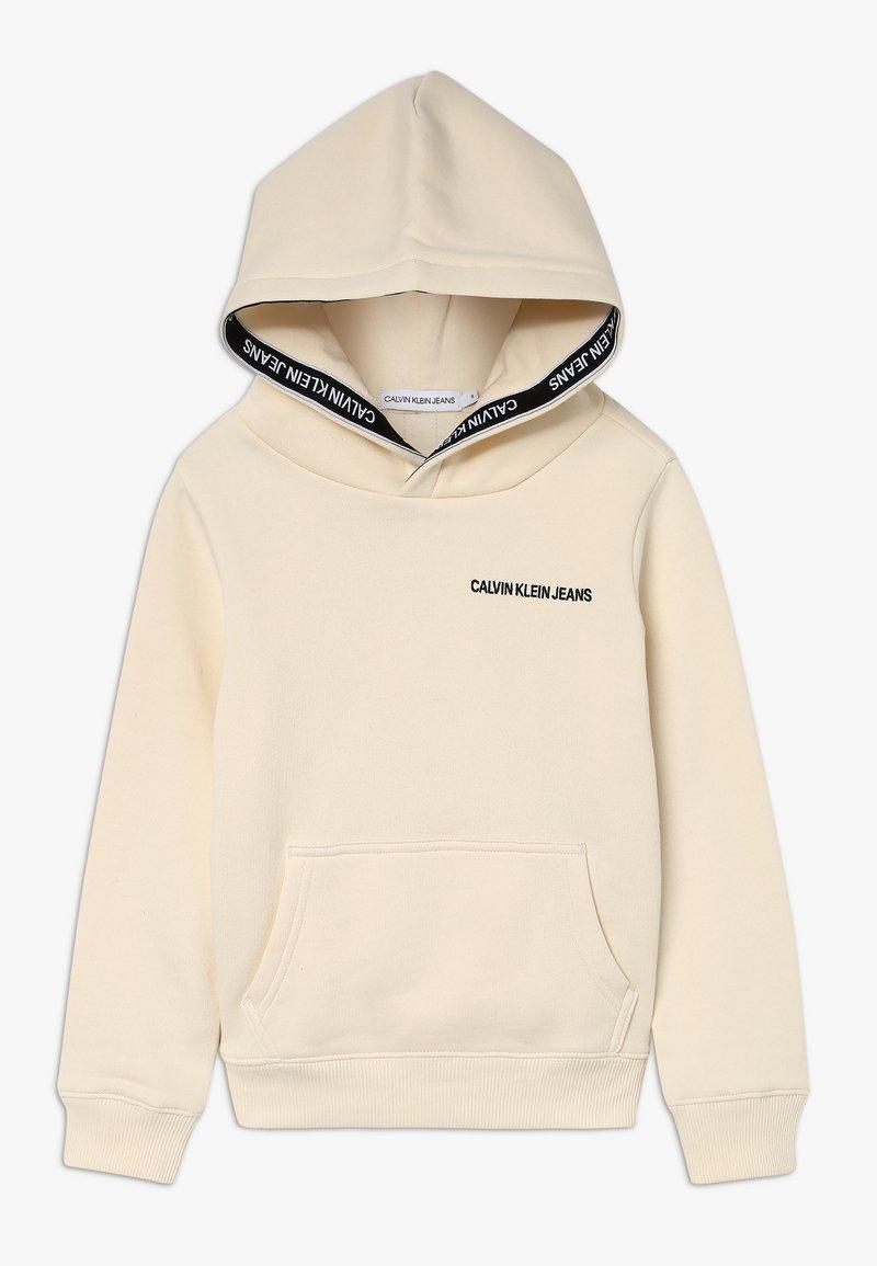 Calvin Klein Jeans - LOGO TAPE HOODIE - Hoodie - beige