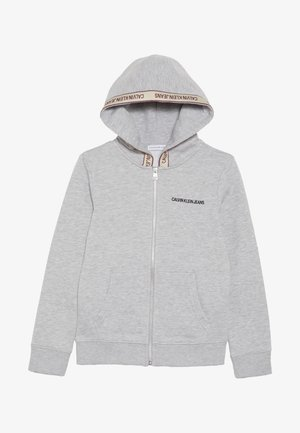 LOGO TAPE ZIP HOODIE - Collegetakki - grey