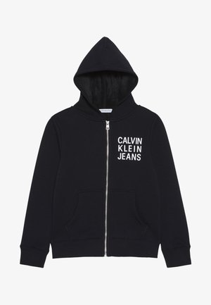 SOFT LOGO ZIP HOODIE - veste en sweat zippée - black