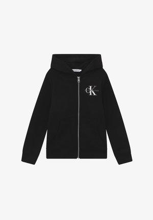 MONOGRAM CHEST ZIP HOODIE - Zip-up hoodie - black