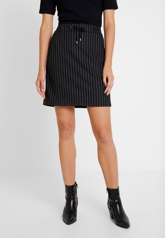 PINSTRIPE SKIRT WITH TAPE DETAIL - Mini skirts  - black