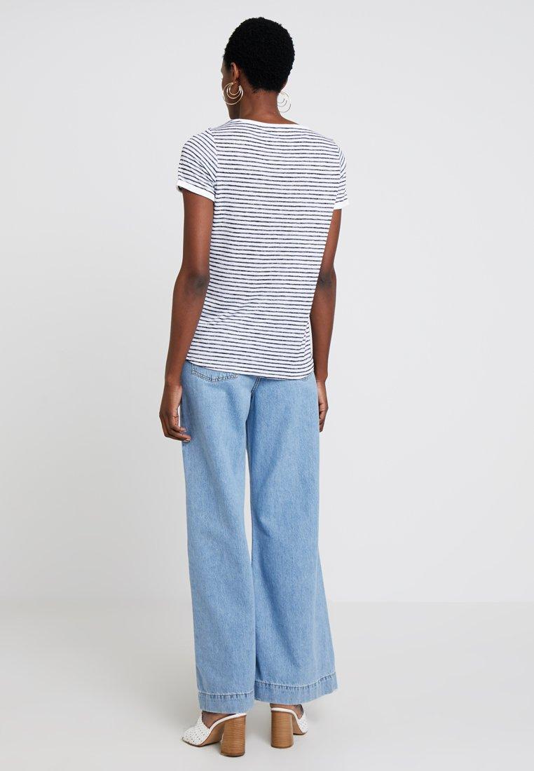 Casual Stripes Identity Comma T shirt ImpriméBlue OkXZPiuT