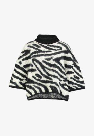 PONCHO - Pullover - black/white