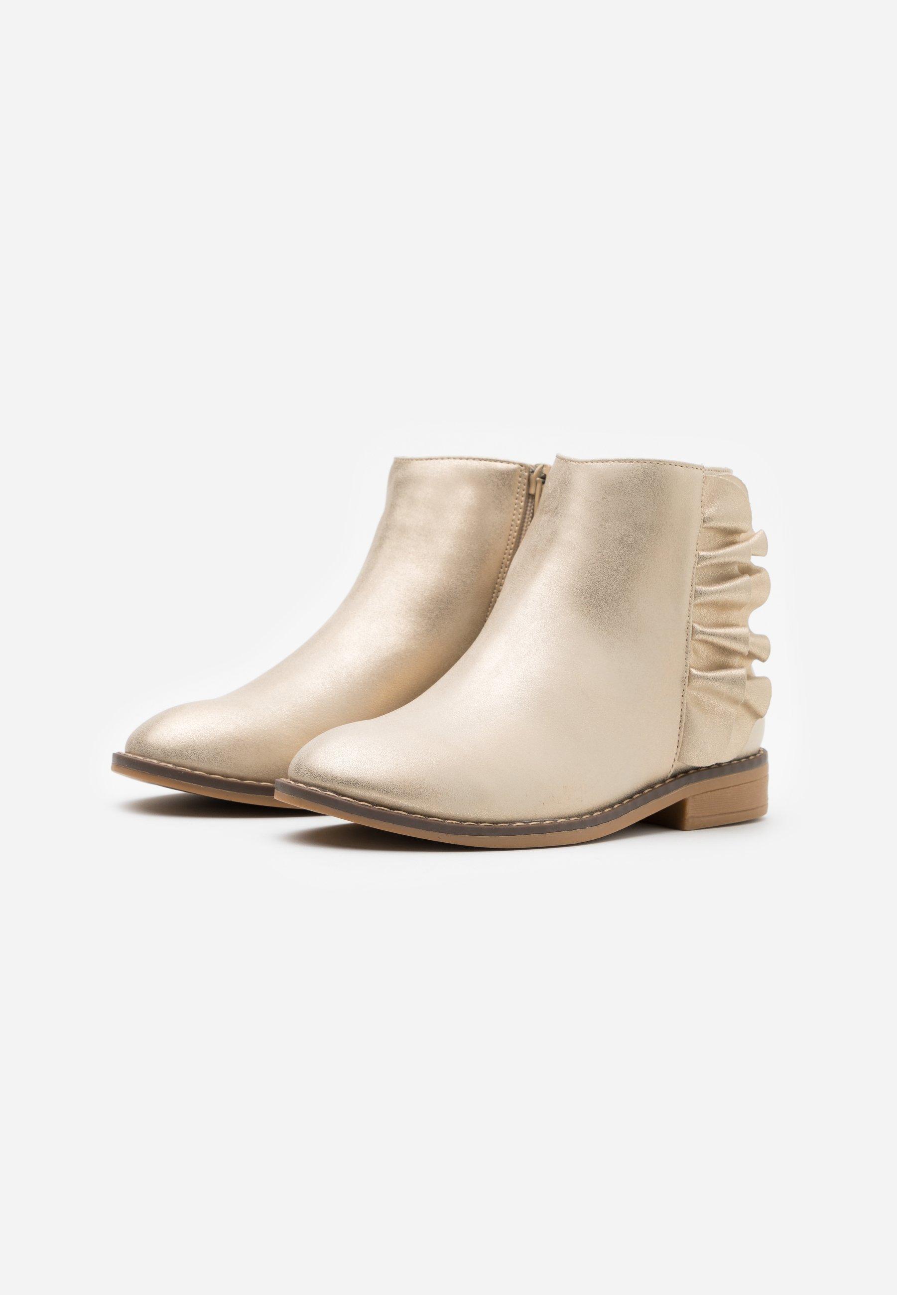 RUFFLE ANKLE BOOT Korte laarzen gold metallic