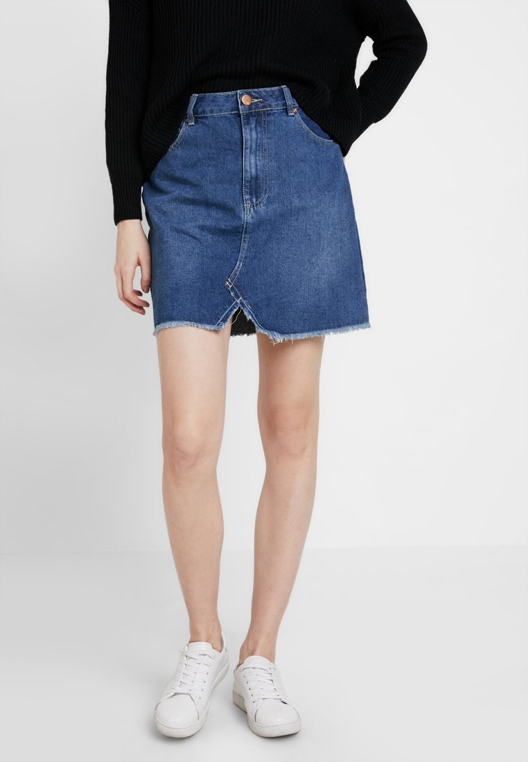 Cotton On - RE-MADE SKIRT - A-Linien-Rock - mid blue