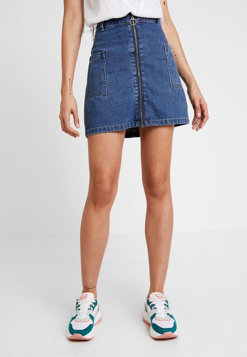 Cotton On - A LINE ZIP FRONT SKIRT - Áčková sukně - blue