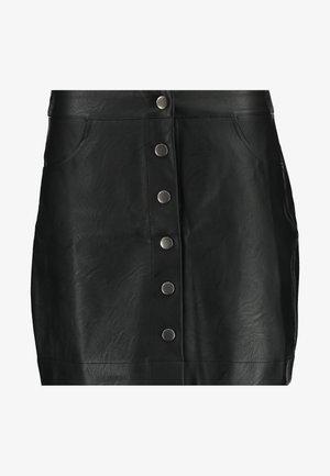 BUTTON MINI SKIRT - Jupe en cuir - black