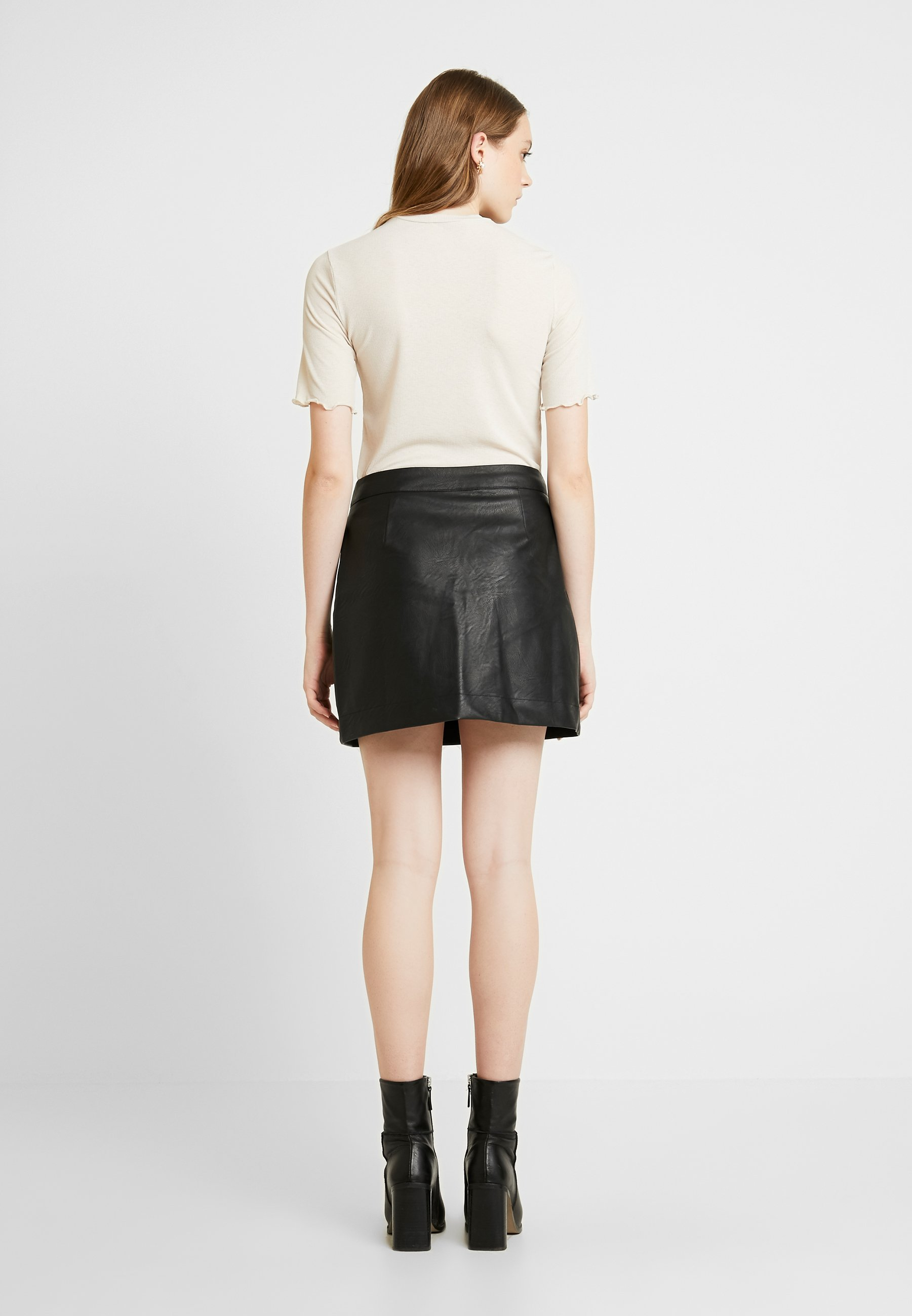 SKIRTJupe Cotton MINI BUTTON On cuir black en 0k8wPOXn