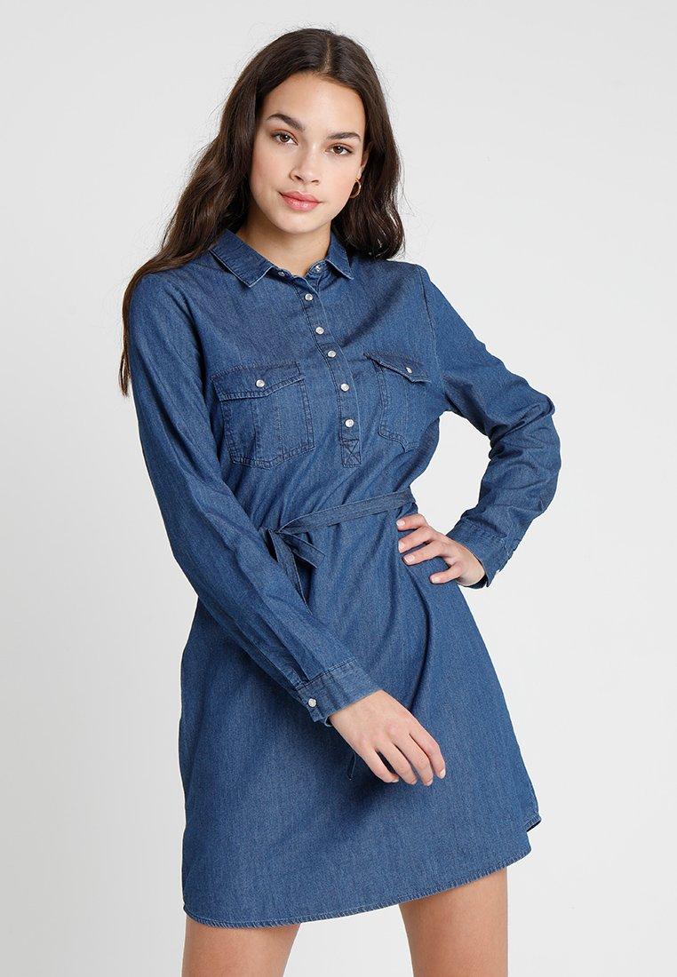 Cotton On - TAMMY LONG SLEEVE DRESS - Skjortekjole - dark denim