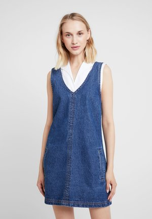 FRONT POCKET PINAFORE - Day dress - mid blue