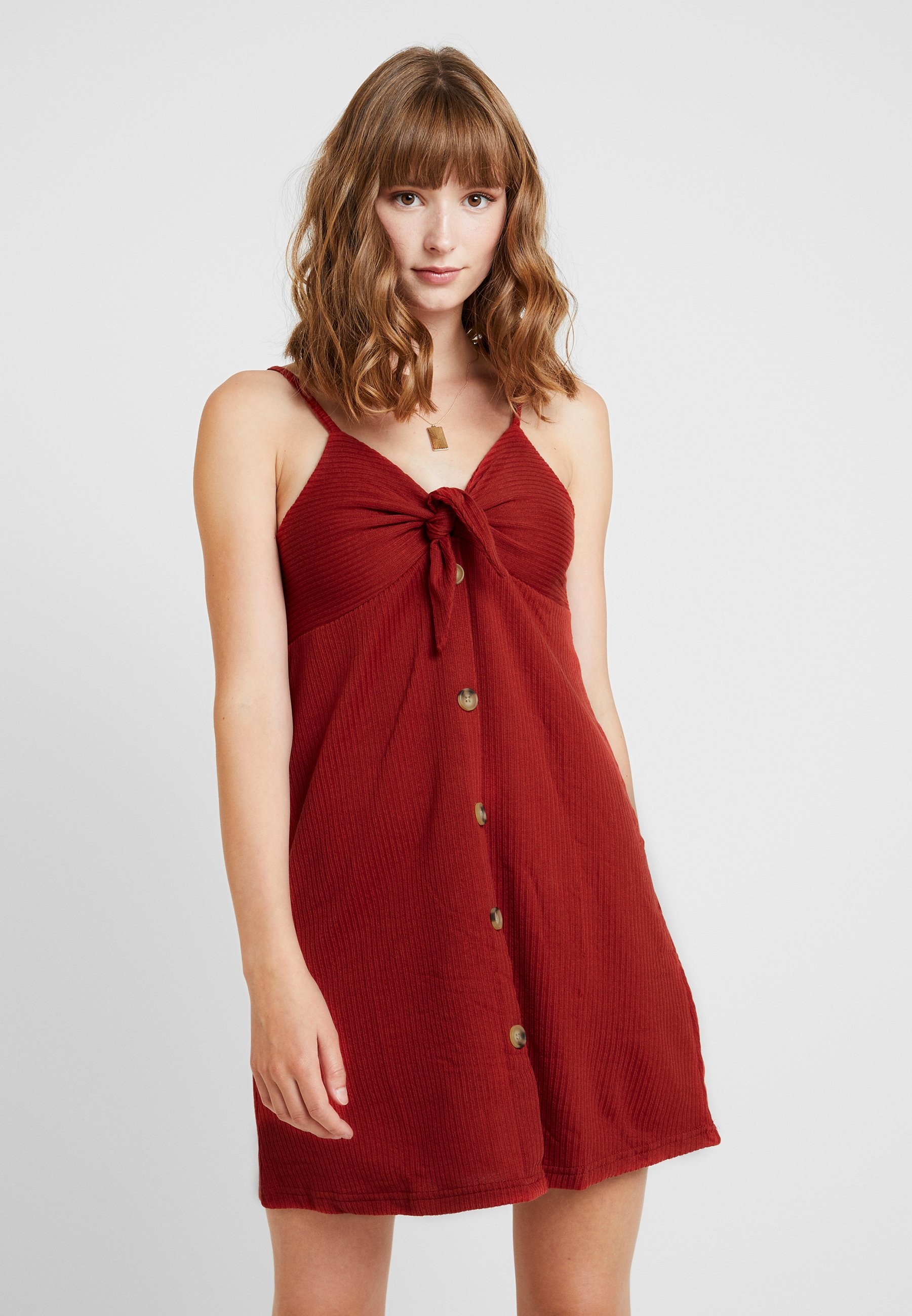 On Tie Jersey En Front Mini DressRobe Red Rustic Cotton oWQrCxdeB