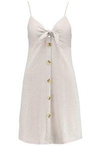 Cotton On - TIE FRONT MINI DRESS - Jerseyjurk - brownie/white - 4