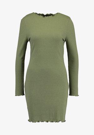 GRACE HIGH NECK LONG SLEEVE MINI DRESS - Shift dress - soft khaki