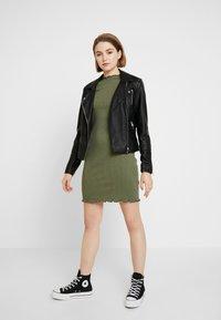 Cotton On - GRACE HIGH NECK LONG SLEEVE MINI DRESS - Shift dress - soft khaki - 1