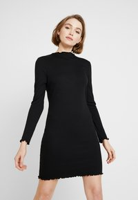 Cotton On - GRACE HIGH NECK LONG SLEEVE MINI DRESS - Etuikjole - black - 0