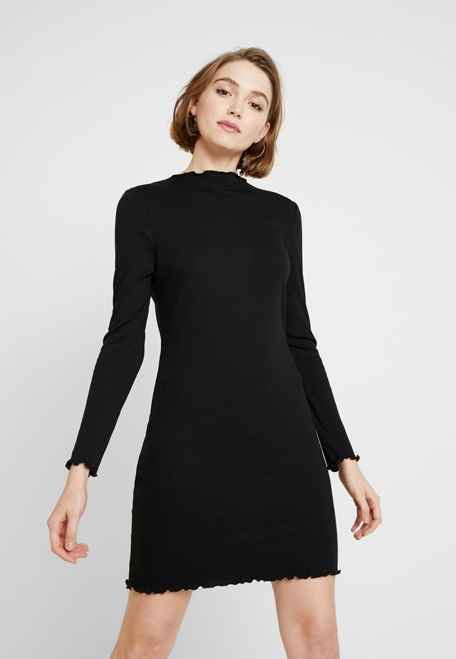 GRACE HIGH NECK LONG SLEEVE MINI DRESS - Sukienka etui - black
