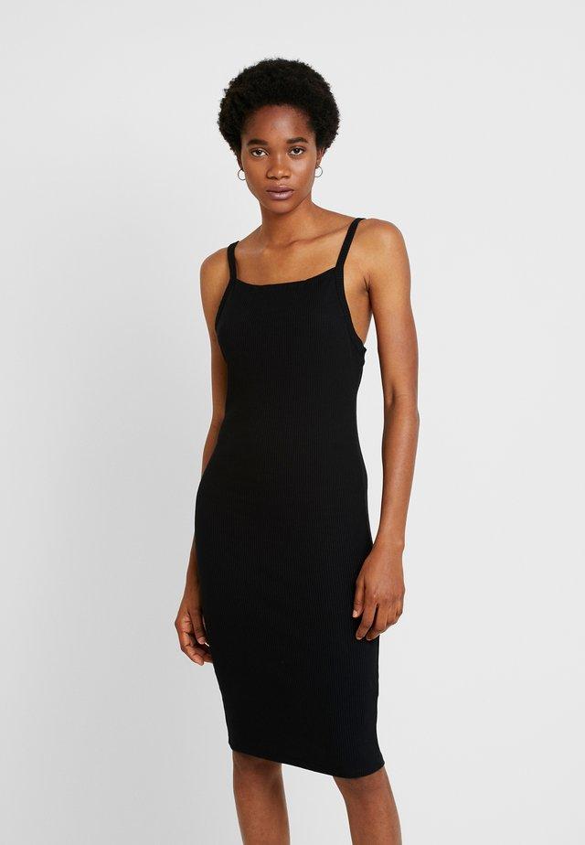 LOW BACK STRAPPY MIDI DRESS - Shift dress - black